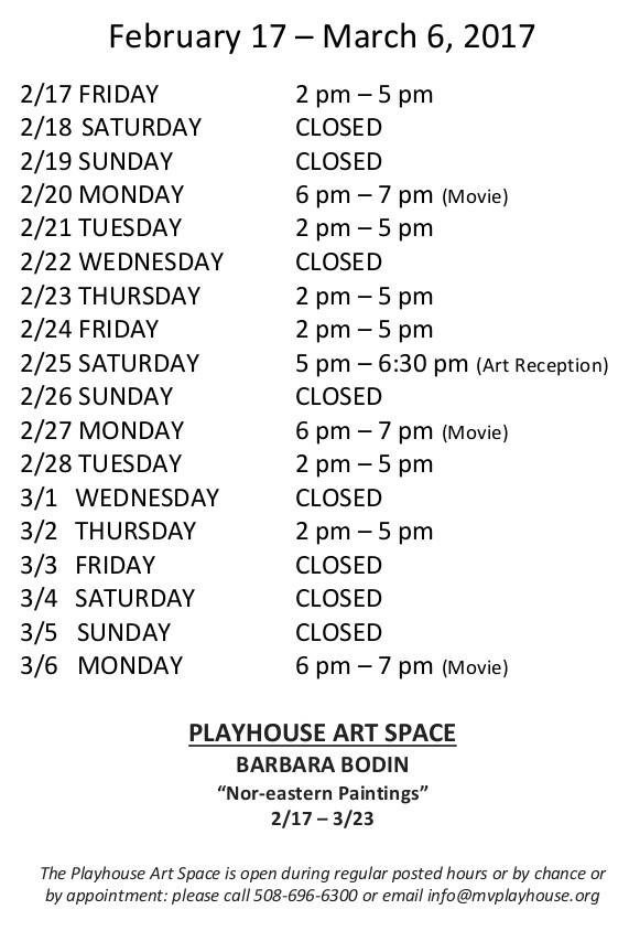 Hours Feb 17-Mar 6