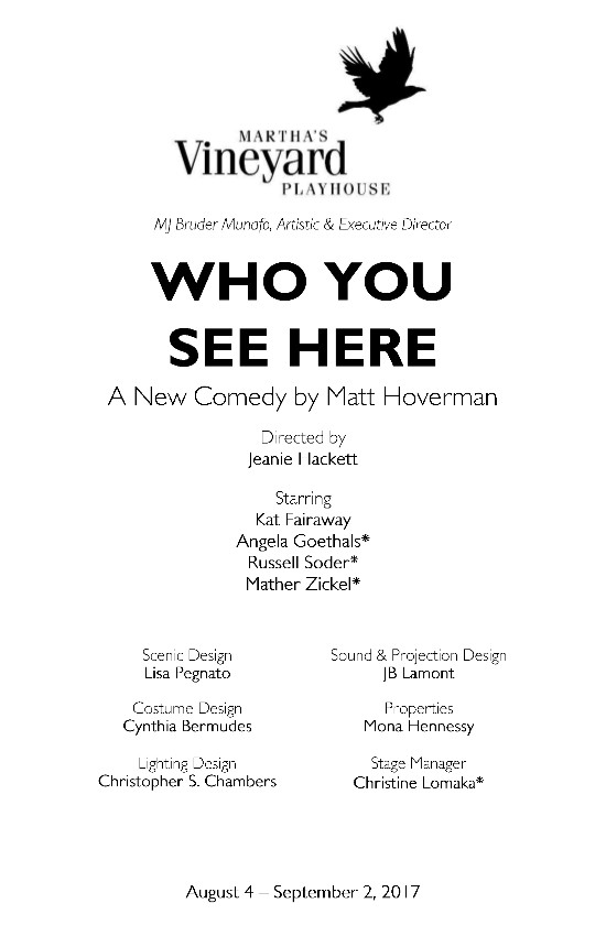 Who You See Here Program First Page